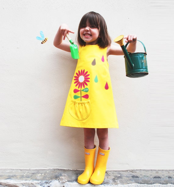 Girls Dress, Scandinavian flower, yellow