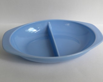 Blue Delphite Pyrex Divided Dish