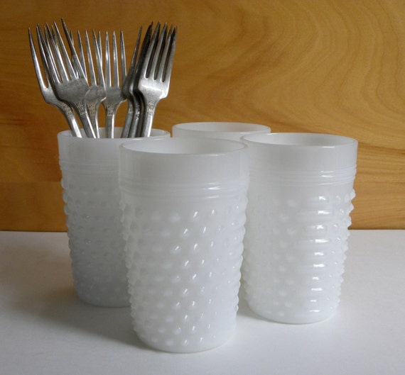 Set of 4 Hobnail Milkgass Glasses
