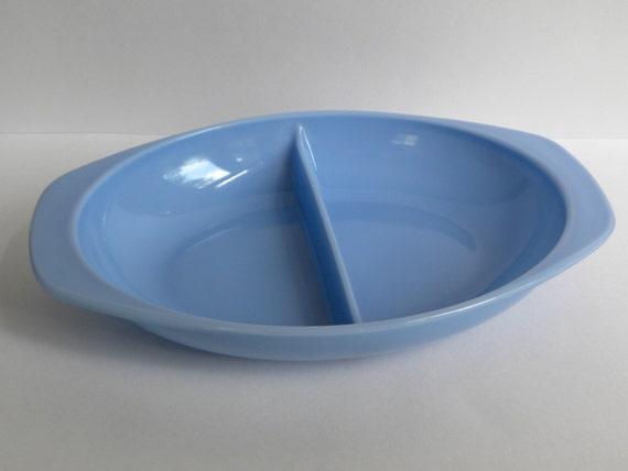 Blue Delphite Pyrex Divided Dish