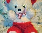 Vintage Kitsch Candy Cane Googly Eyed Teddy Bear