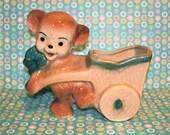 Vintage Kitsch Teddy Bear with Cart Planter