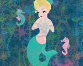 ModPets originals Kitsch Marilyn Mermaid 8 x11 ready to frame Art Print