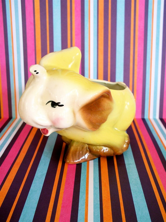 Vintage Adorable Kitsch Yellow Running Elephant Planter