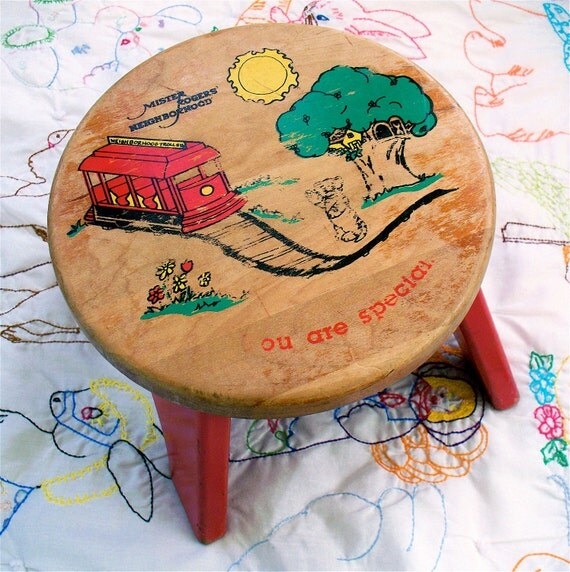 Vintage Retro Mr. Mister Rogers Neighborhood Solid Wood Childs Bench Stool Trolley Tree house You are Special