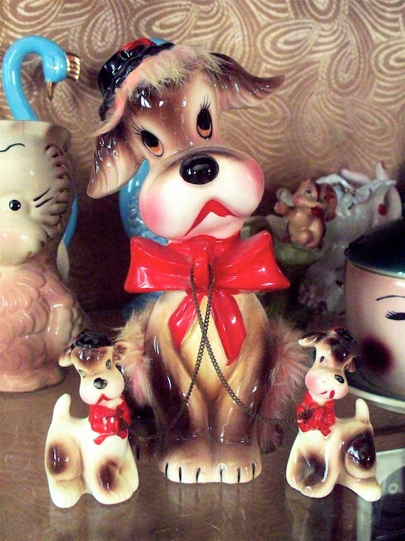 Vintage Kitsch Large Mama Puppy Dog with Fur and  two Chained Baby Puppies Figurines Trio Set