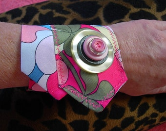 Multi Color Retro Fabric Cuff Bracelet