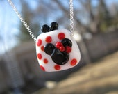 Minnie Mouse Purse Necklace Pendant Minnie Lampwork Glass Beads Jewelry Sterling Disney