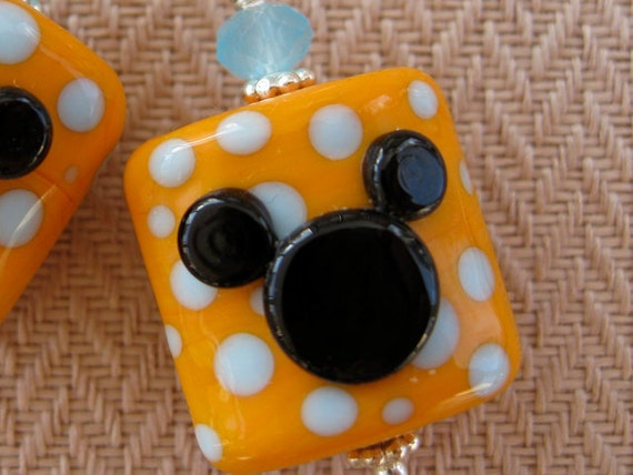 Mango Mickey Mouse Icon Earrings Lampwork Jewelry Glass Beads Sterling Silver Mickey Earrings Disney Princess