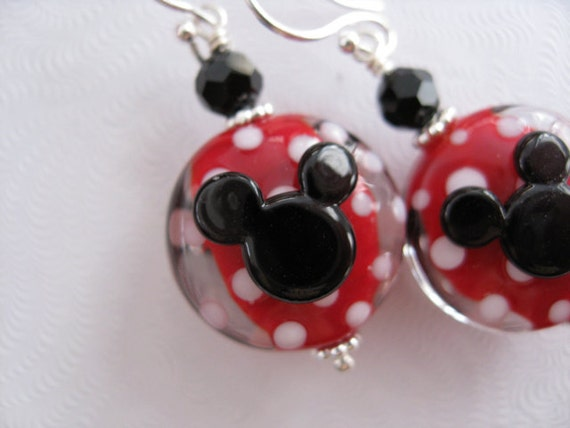 Minnie Mouse Lampwork Glass Beads Sterling Silver Princess Disney Mickey Earrings Jewelry