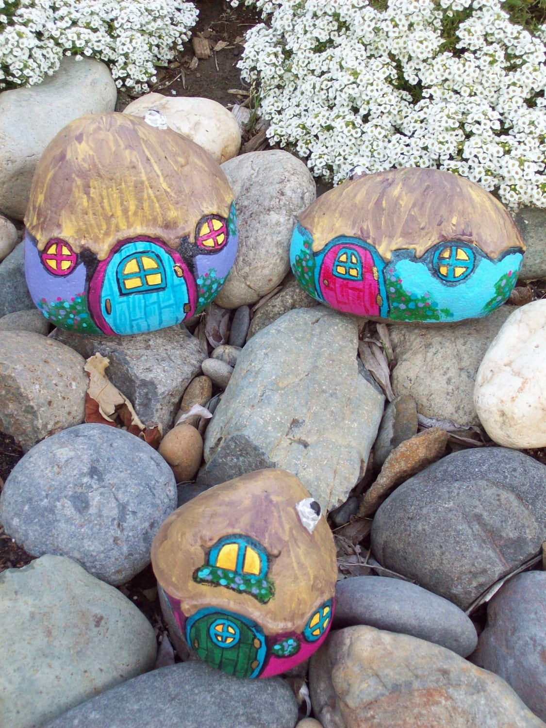 Teal blue painted river rock fairy gnome home by rhocolate - Painting rocks for garden what kind of paint ...