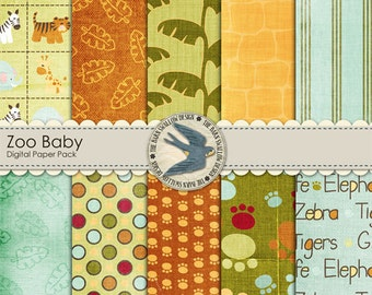 "Digital Scrapbook Paper Pack,  Zoo Baby - 10 12"" x 12"" papers, Instant Download"