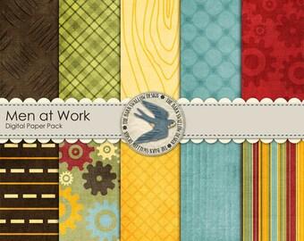 "Digital Scrapbook Paper Pack Instant Download for boys, men -  ""Men at Work"" - 10 digital papers 12"" x 12"""