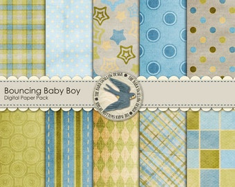 "Digital Scrapbook Paper Pack - Bouncing Baby Boy - 10 digital papers 12"" x 12"" Instant Download"