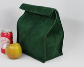"""Leather Lunch Bag - """"Go"""" Green -    It's fun, it's leather, it's a great conversation starter."""
