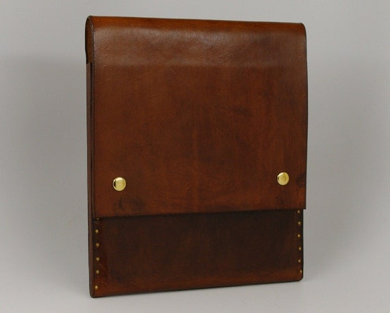 Leather iPad 2 Case - Custom Made - Hand Cobbled Hard Leather - Light Brown