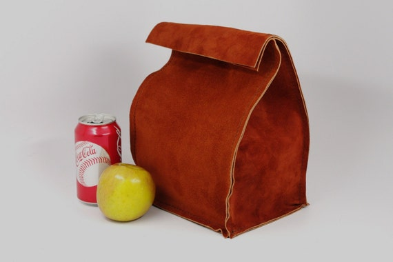 Leather Lunch Bag - Large - Rust Brown -  It's fun, it's leather, it's a great conversation starter