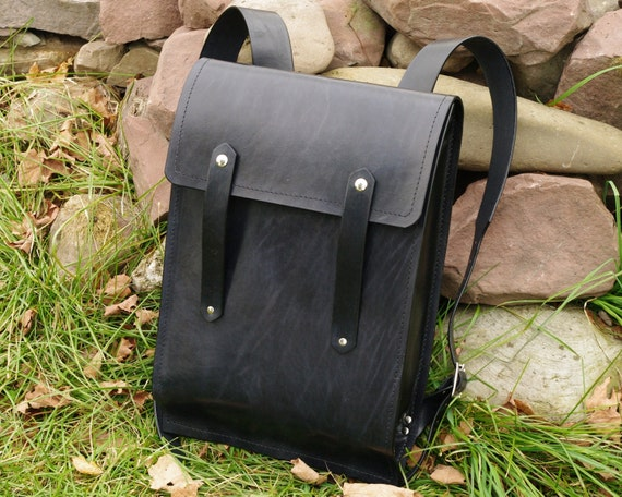 Leather Backpack - Lg Rucksack Style - Hard Leather - Black pictured - see colors available