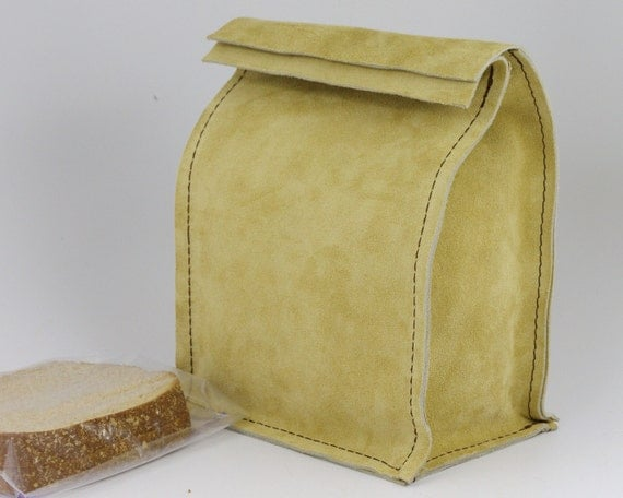 Leather Lunch Bag - Sand Brown - It's fun, it's leather, it's a great conversation starter