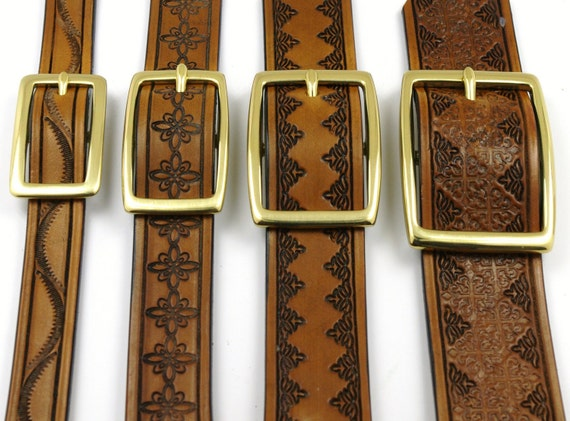 Hand Tooled Leather Belts  - 3/4 inch - Made to order - You choose the color and design