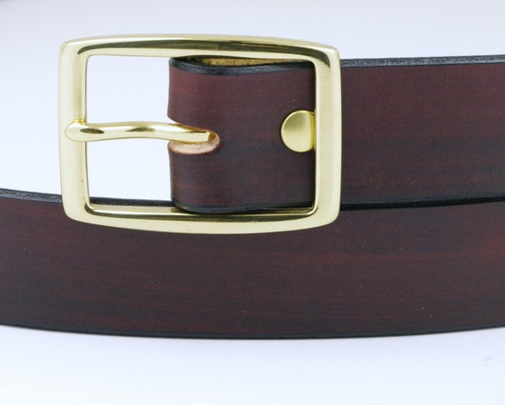Leather Belt - 1 1/4 inches - Your color & buckle choice - Custom Fitted - Mahogany w Solid Brass Buckle pictured