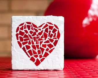 Romantic red heart mosaic design