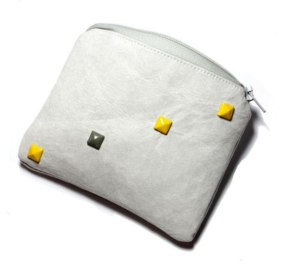 faux leather coin purse with rivets
