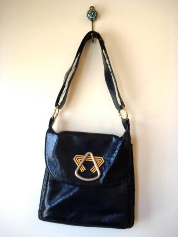 Vintage 1970's dark navy blue vinyl purse with abstract modernist buckle