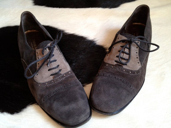 Vintage Taryn Rose 3 shades of grey suede Oxford Shoes granny grunge high quality 9 women - 39