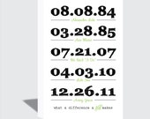 11x17 Special Dates Canvas Wrap | Family Wall Art