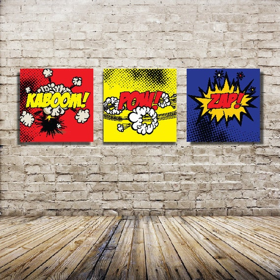 Set of Three - 16x16 Canvas Prints - Comic Book Theme Canvas Wraps - Super Hero