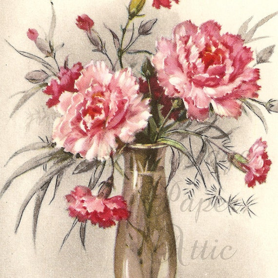 French Postcard Vintage Pretty Shabby Pink Carnations in Glass Vase from Vintage Paper Attic