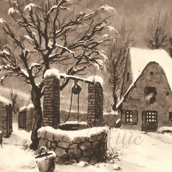 Antique French Christmas Postcard Rural Cottage and Wishing Well Monochrome Snow Scene from Vintage Paper Attic