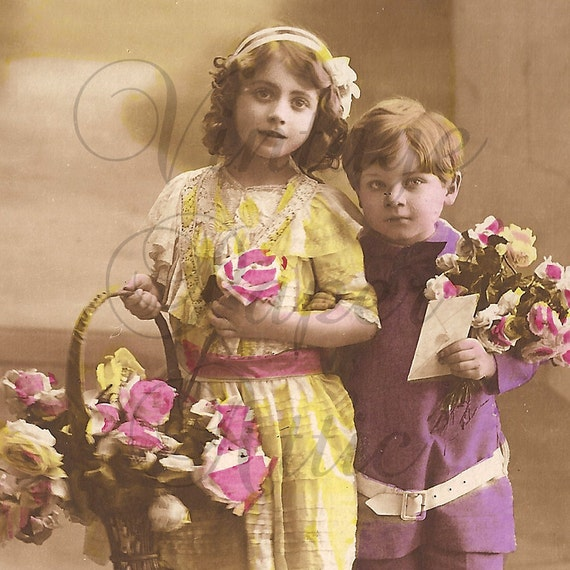 Antique French Tinted Photo Postcard Cute Children with Flowers RPPC from Vintage Paper Attic