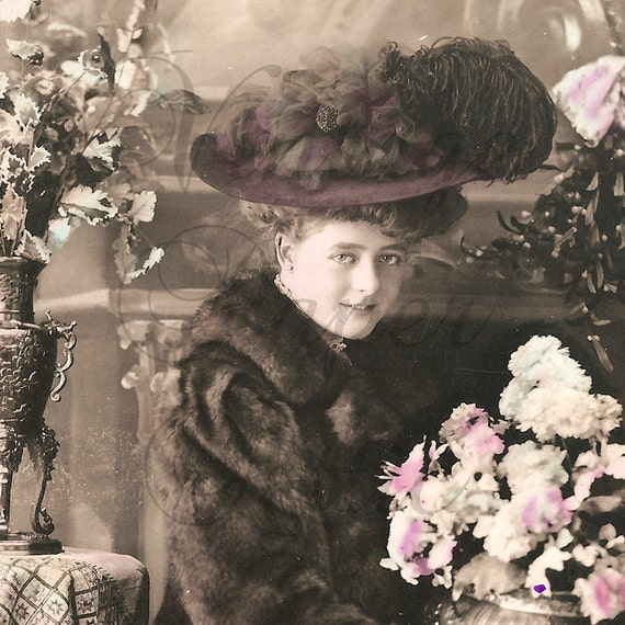 Antique French Tinted Photo Postcard Pretty Woman in Fur Coat and Big Hat with Mistletoe and Flowers from Vintage Paper Attic