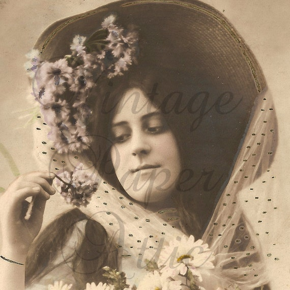 Antique French Postcard RPPC Tinted Photo Pretty Woman in Big Straw Hat and Daisies from Vintage Paper Attic