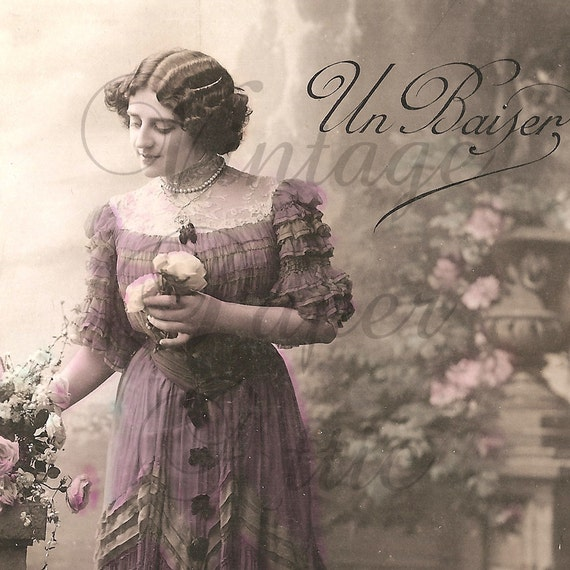 Antique French Postcard 1908 RPPC Tinted Photograph Edwardian Woman in Mauve Dress from Vintage Paper Attic