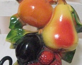 Vintage Chalkware Fruit Wall Plaque-Vibrant color-AS IS