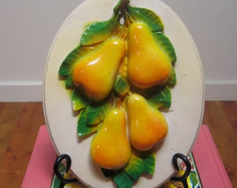 Vintage Chalkware Pears Wall Plaque-Vibrant colors