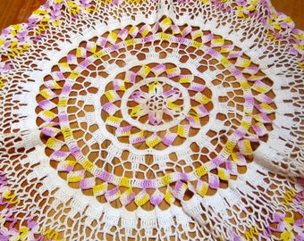 """Crocheted Vintage Doily 21"""""""