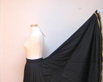 Long Fiesta Skirt Vintage Handmade Santa Fe Black Gold Trim