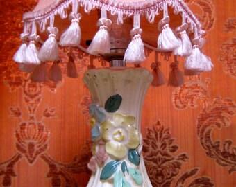 Vintage Lamp Pink Fringe Shade Floral Ceramic Base