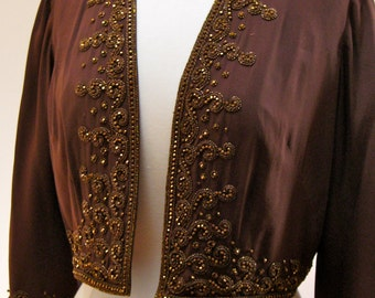 Rare Mid Century Vintage  Bergdorf Goodman Beaded Jacket Holiday Parties