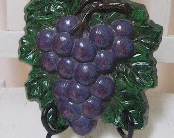 Vintage Chalkware Grapes Wall Plaque-Vibrant color-AS IS