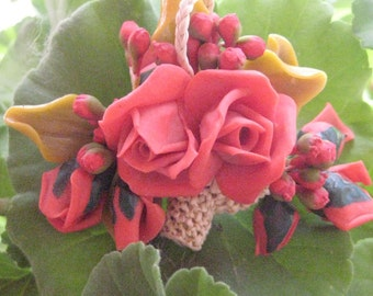 Bread Dough Red Roses Brooch 1930s Flowers in Basket Rare