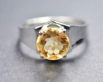 Citrine ring, 1.8 ct, sterling silver ring, gemstone ring, round, yellow, november birthstone, quartz, promise ring