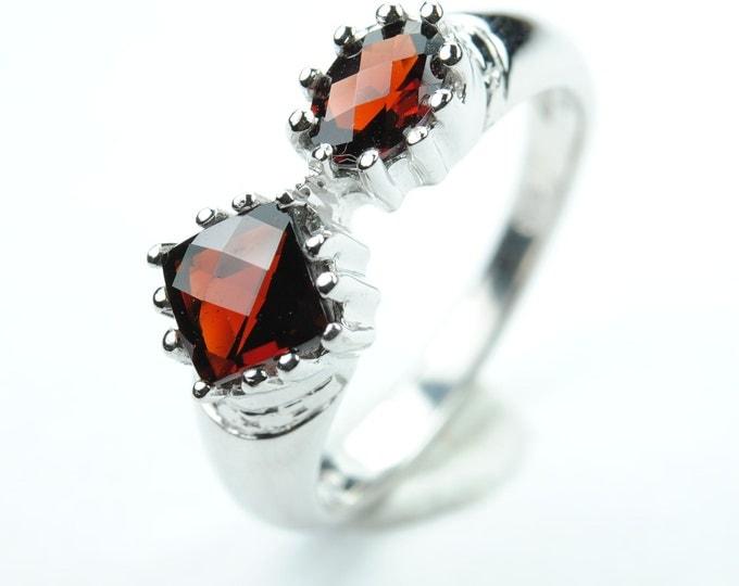 Garnet ring, sterling silver ring, genuine gemstone, red, round, january, birthstone
