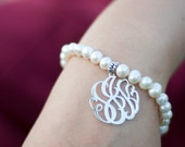 monogram bracelet-monogram pendant 1inch - freshwater pearls for wedding gift