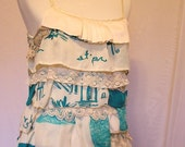Layers of Ruffles and Lace Turquoise and Cream Blouse Tunic Womens Medium