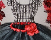 Black and silver shimmering  tutu skirt with red detachable flower